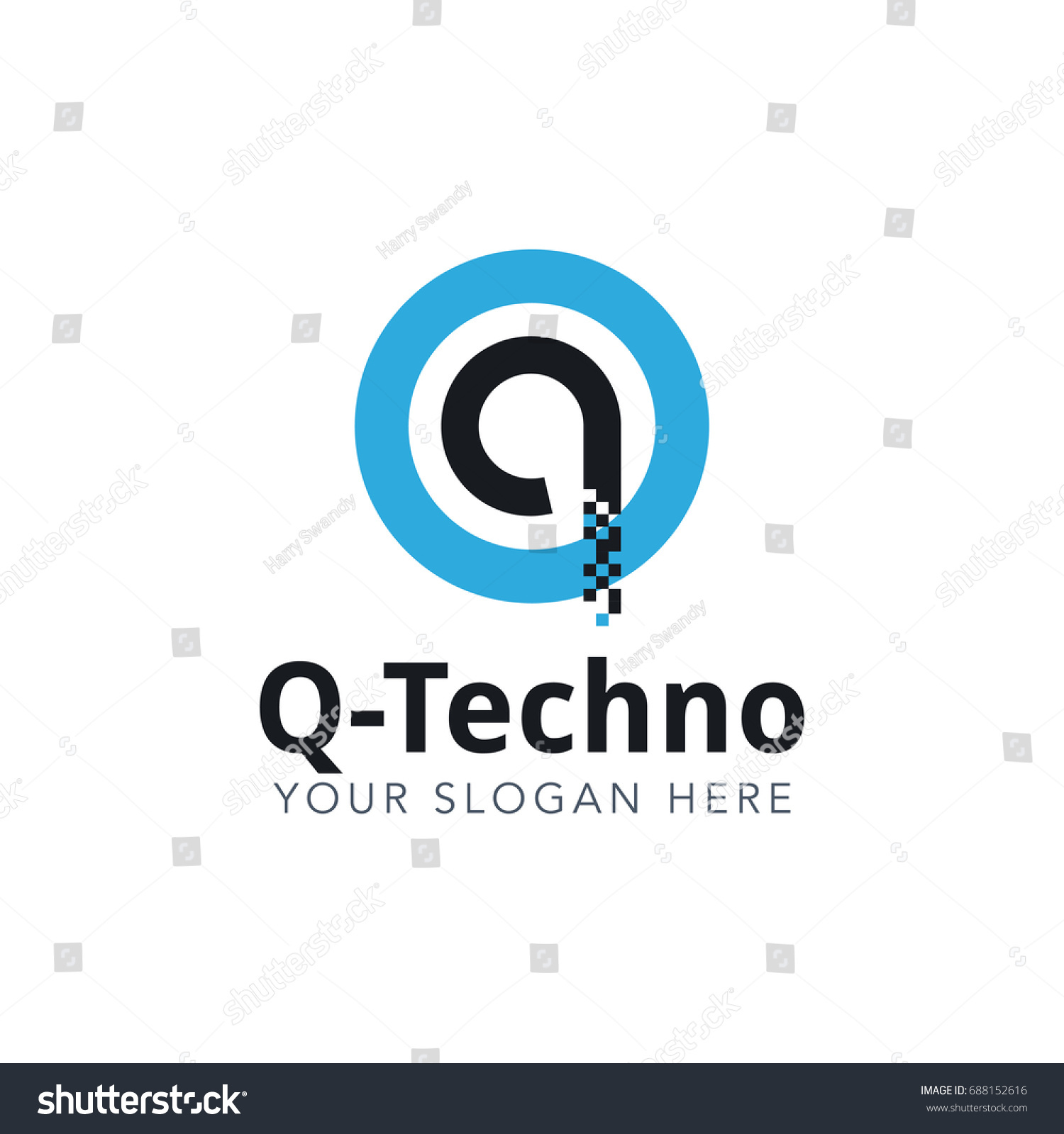 Letter Q Pixel Logo Design Template With Blue Circle Isolated on White  Background. Vector Illustration