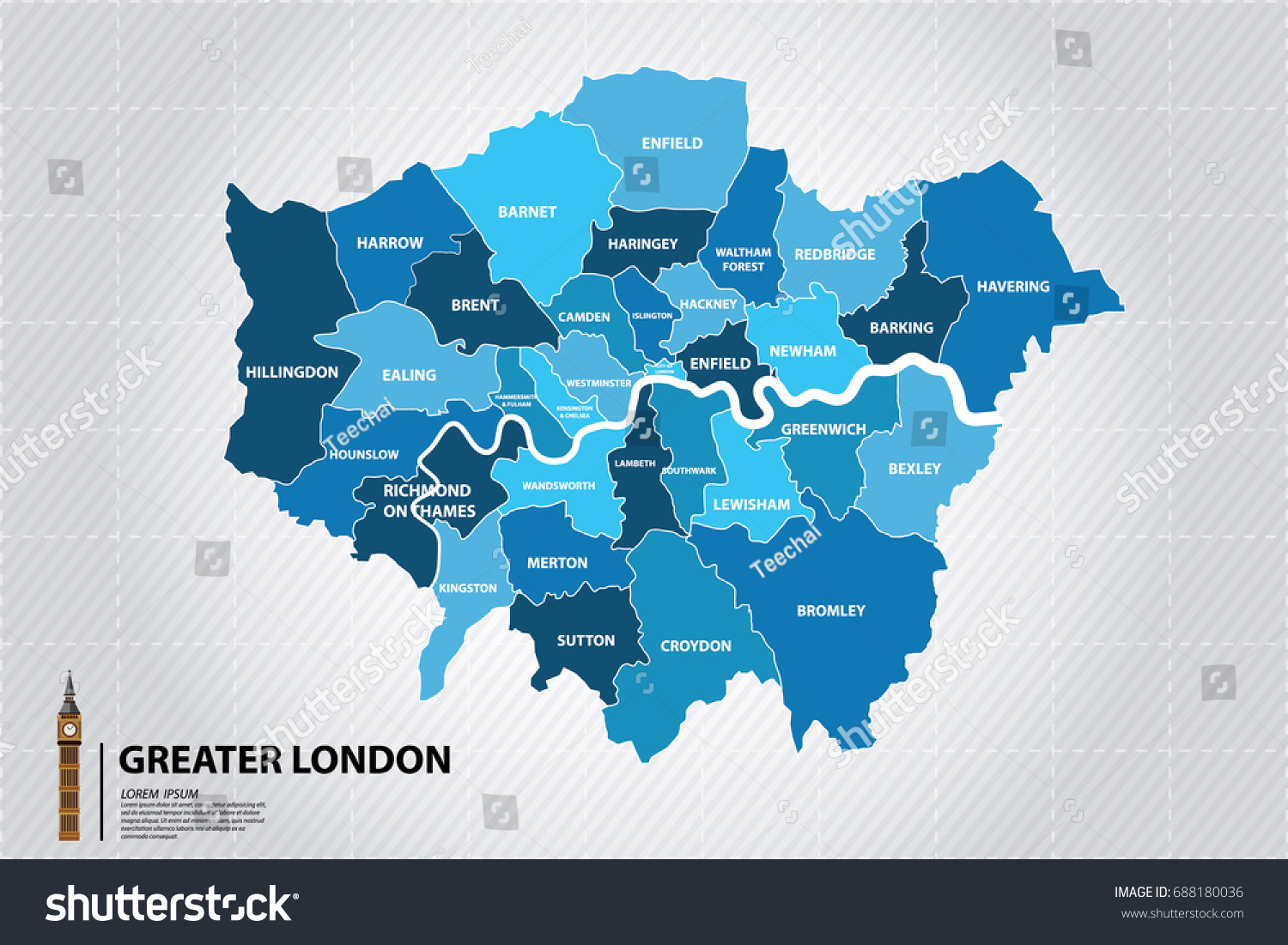 greater london map showing all boroughs big benthe icons of england