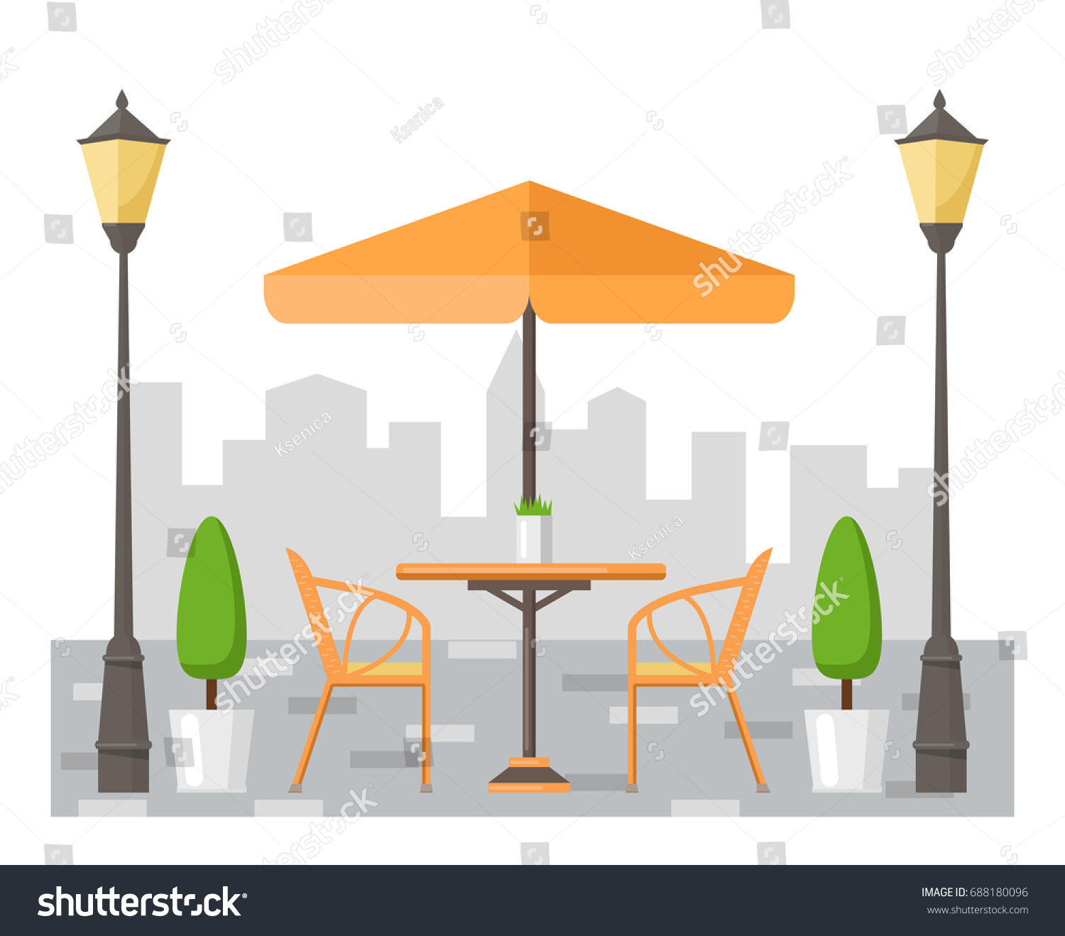 Summer Table And Chairs Part - 50: Summer Street Cafe. Table And Chairs Under The Umbrella. Flat Design.  Vector Illustration