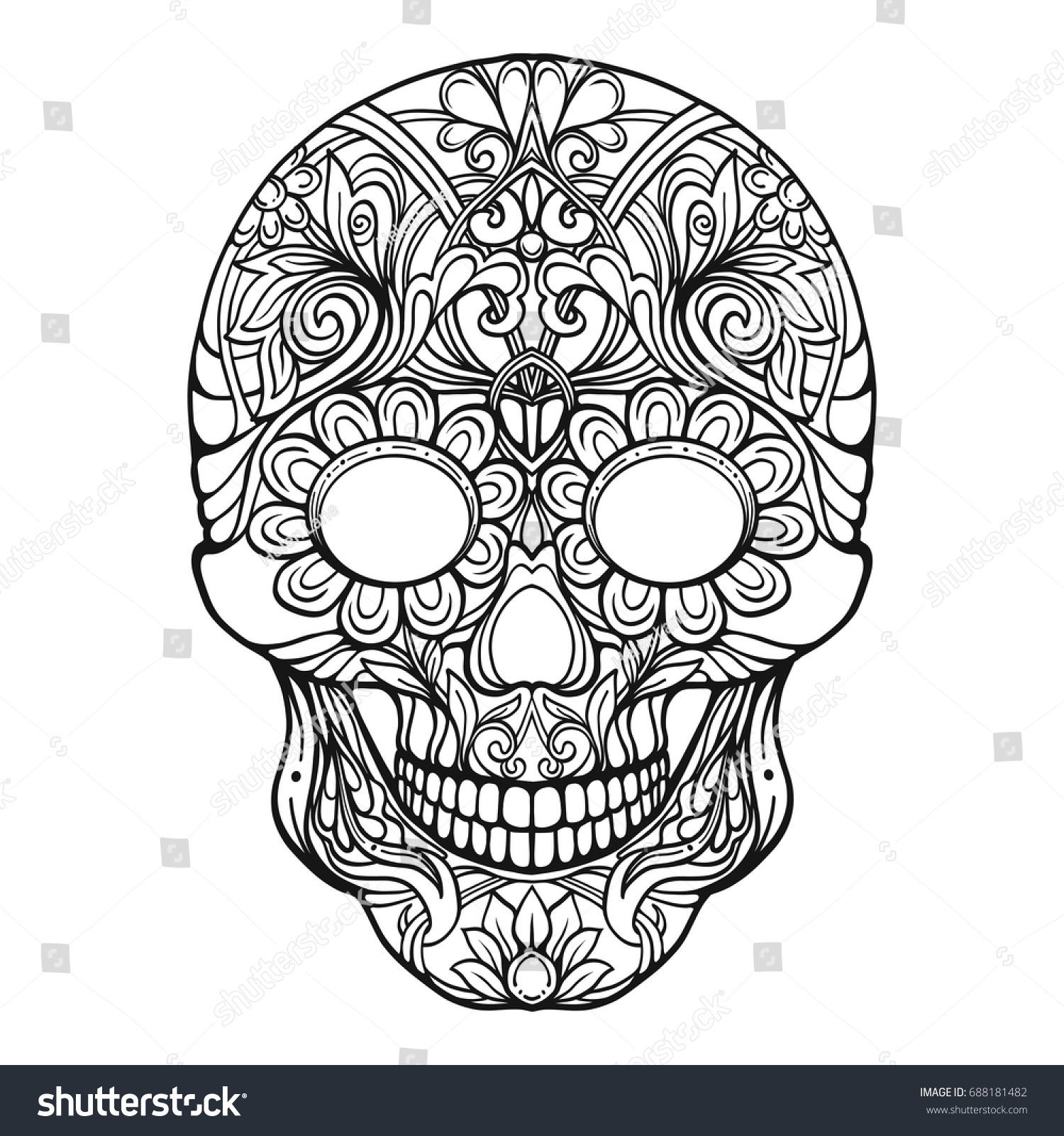 sugar skull traditional symbol day dead stock vector 688181482