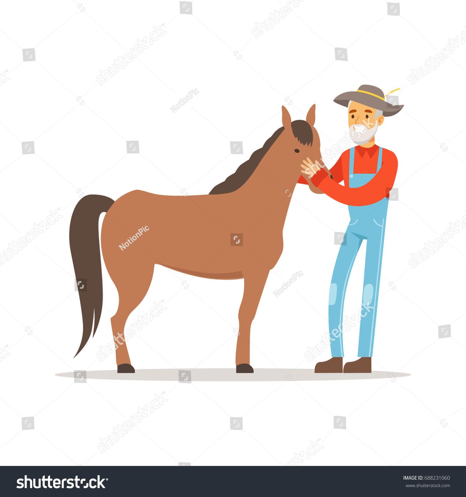 Vector De Stock Libre De Regalias Sobre Old Farmer Man Caring His Horse688231060