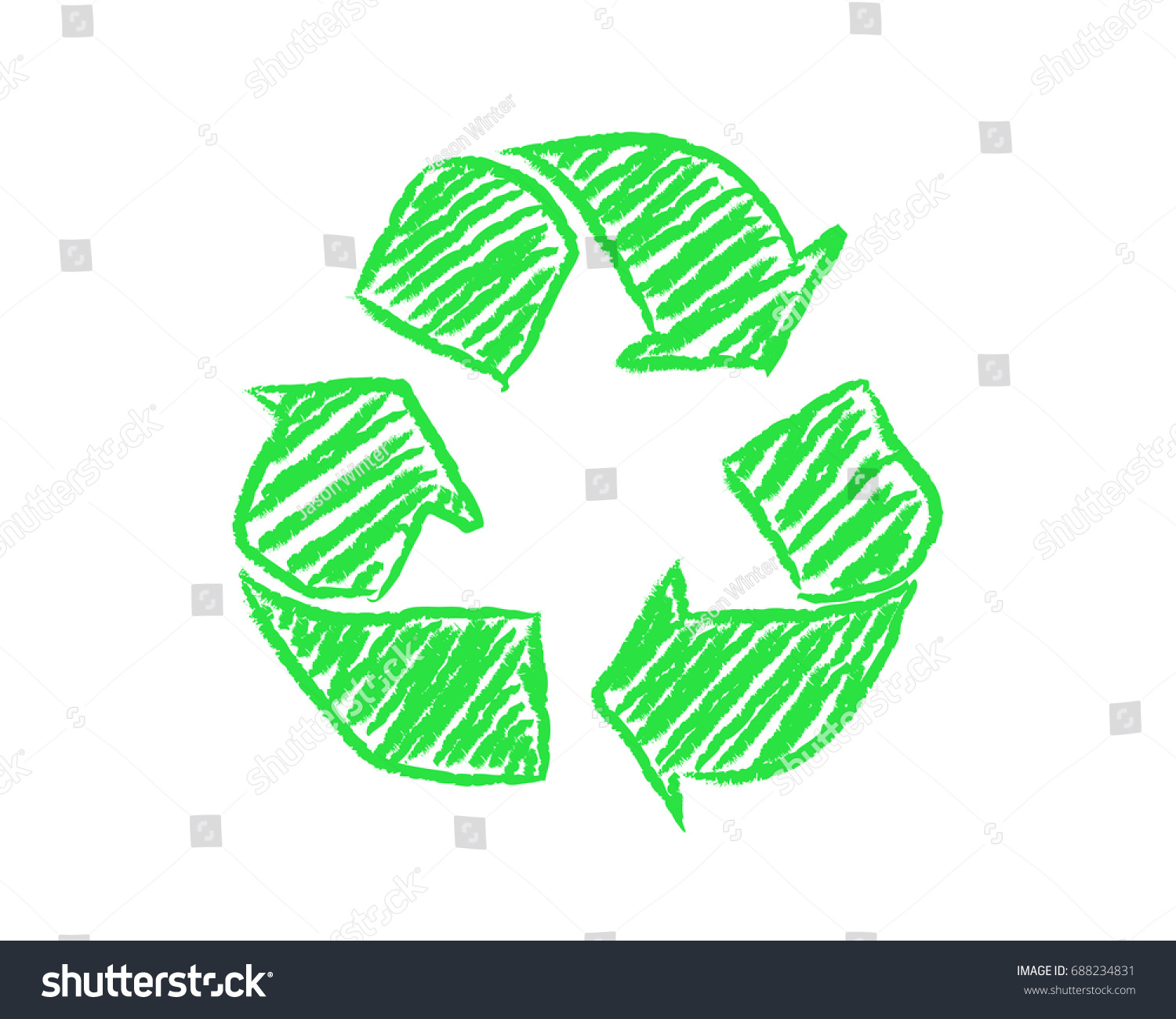 Hand drawn green recycle symbol on stock vector 688234831 hand drawn green recycle symbol on white background biocorpaavc