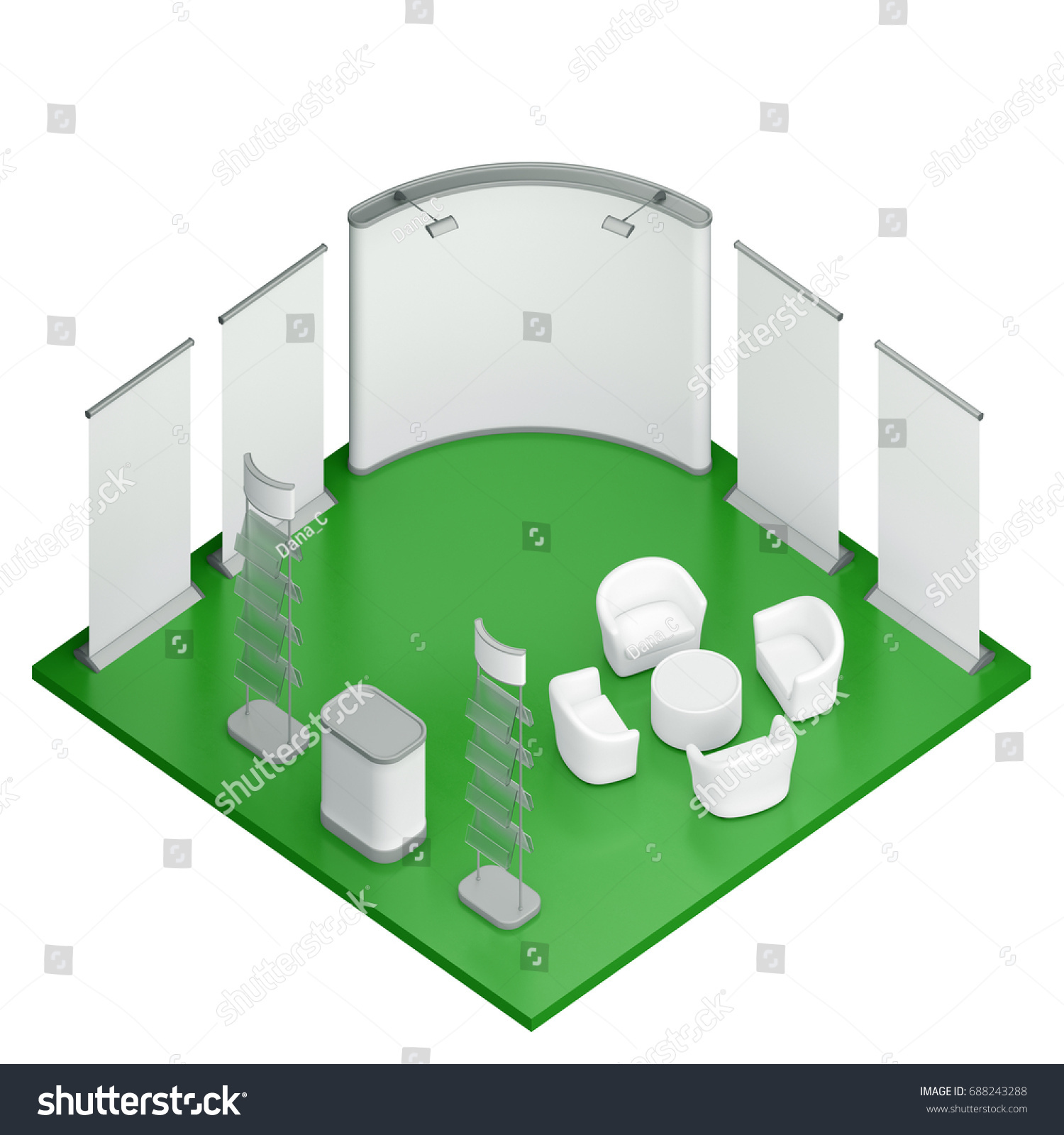 Exhibition Booth Floor Plan : Isometric exhibition booth stand d illustration stock