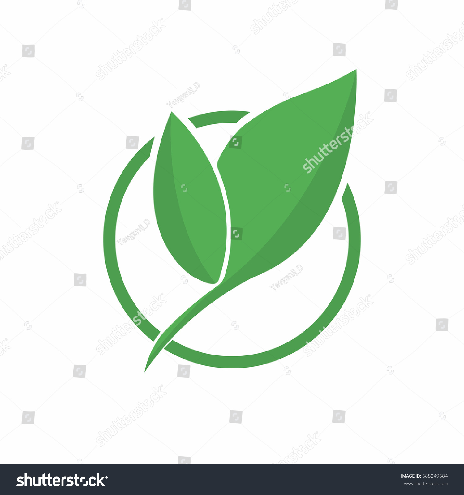 Ecology Logo Abstract Eco Green Leaf Stock Vector Royalty Free