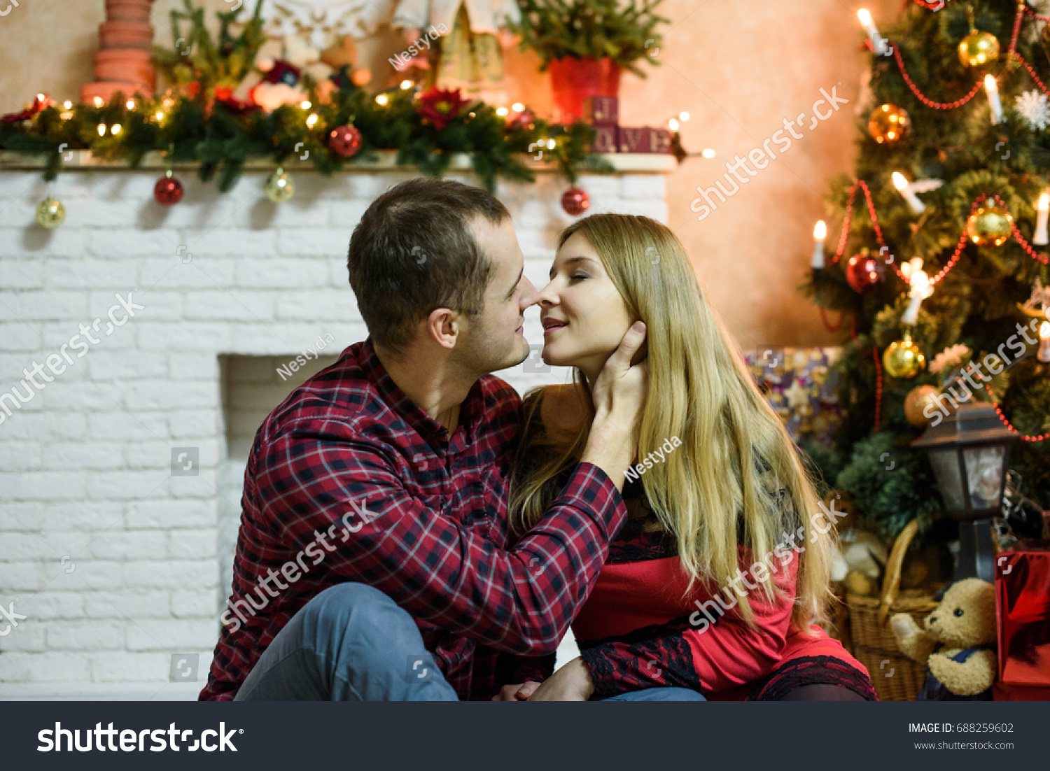 Happy Couple Christmas Gifts Relaxing Kissing Stock Photo (Edit Now ...