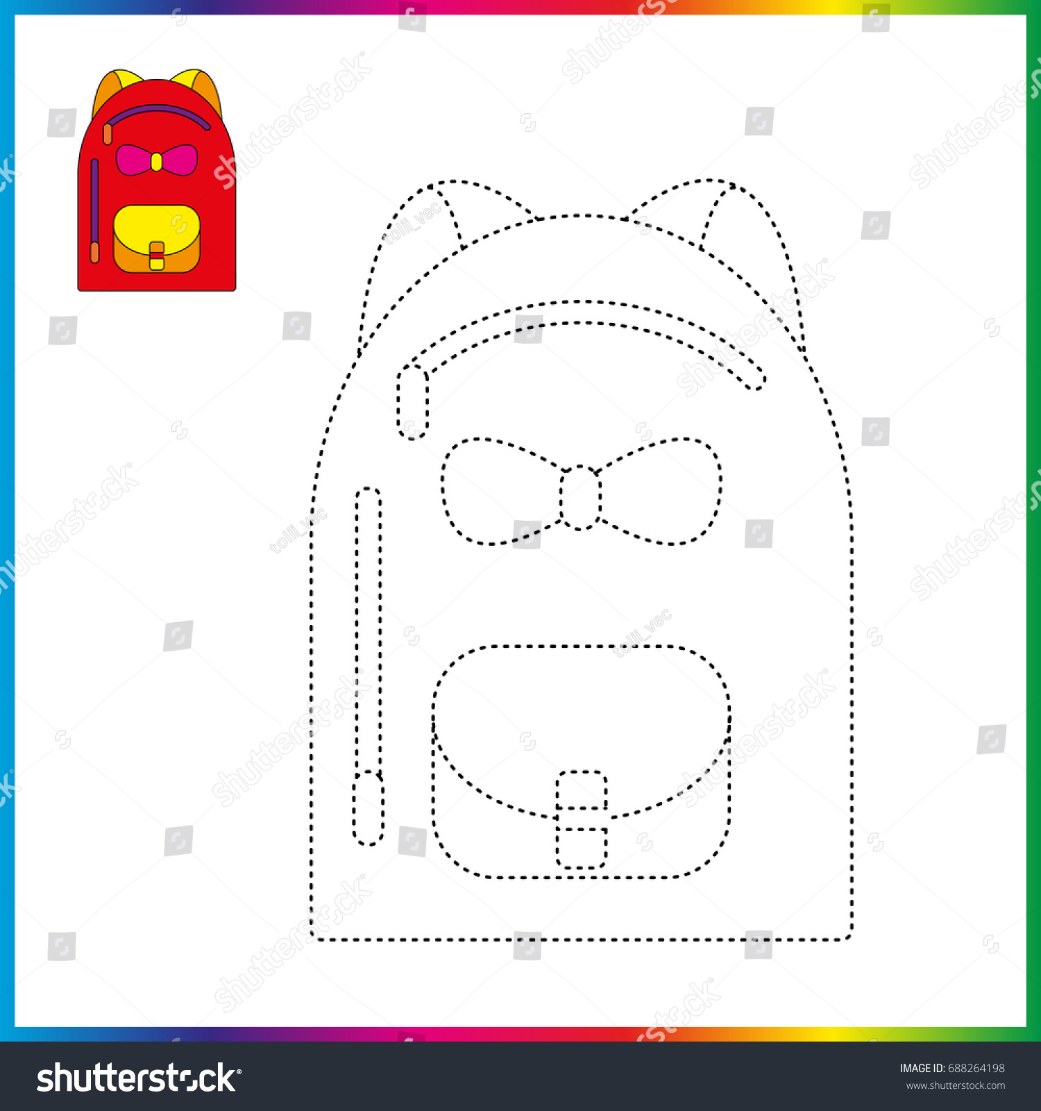School Bag Connect Dots Coloring Page Stock Vector (Royalty Free ...