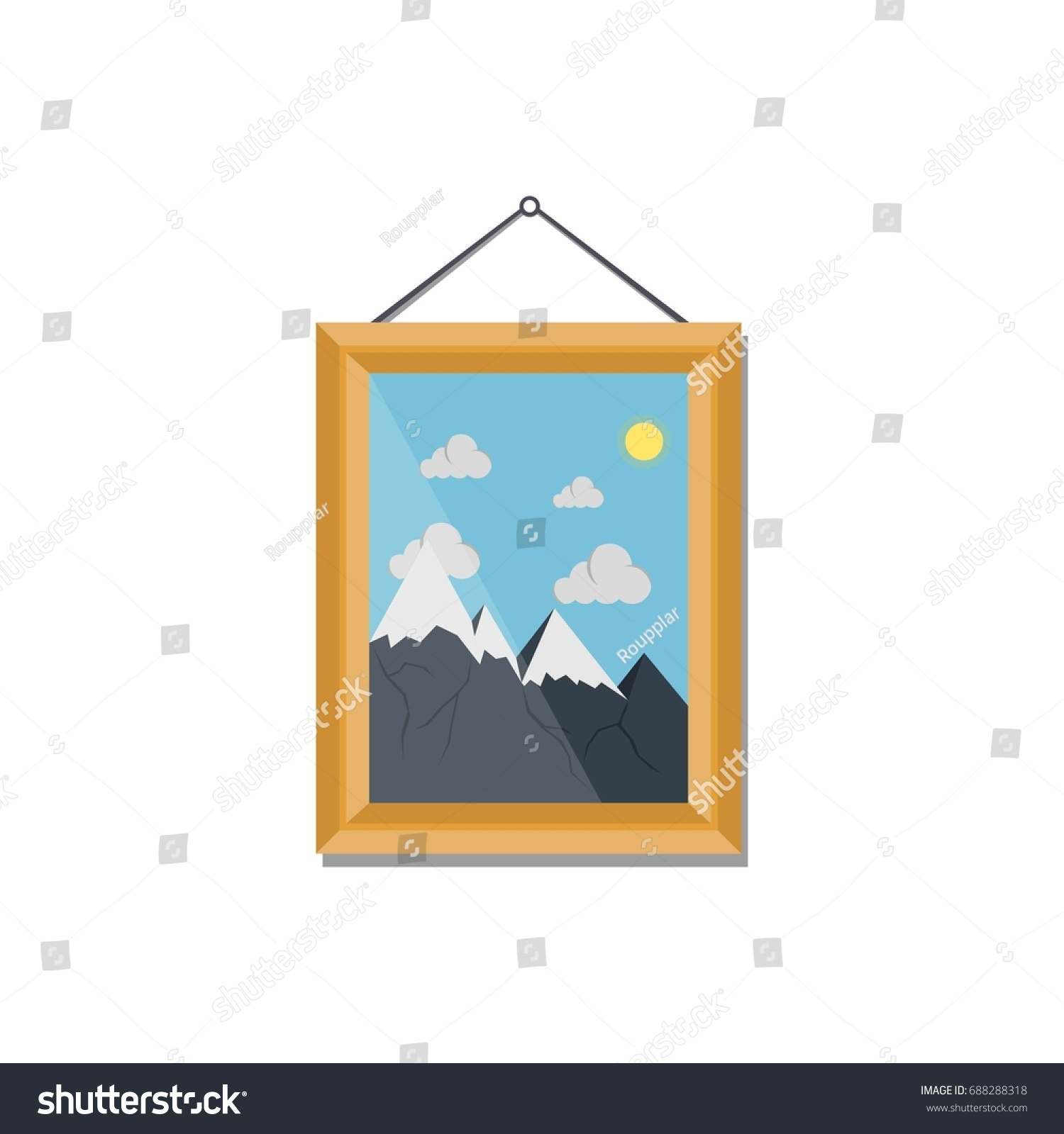 Picture Wooden Frame Mountains Hanging On Stock Vector (Royalty Free ...