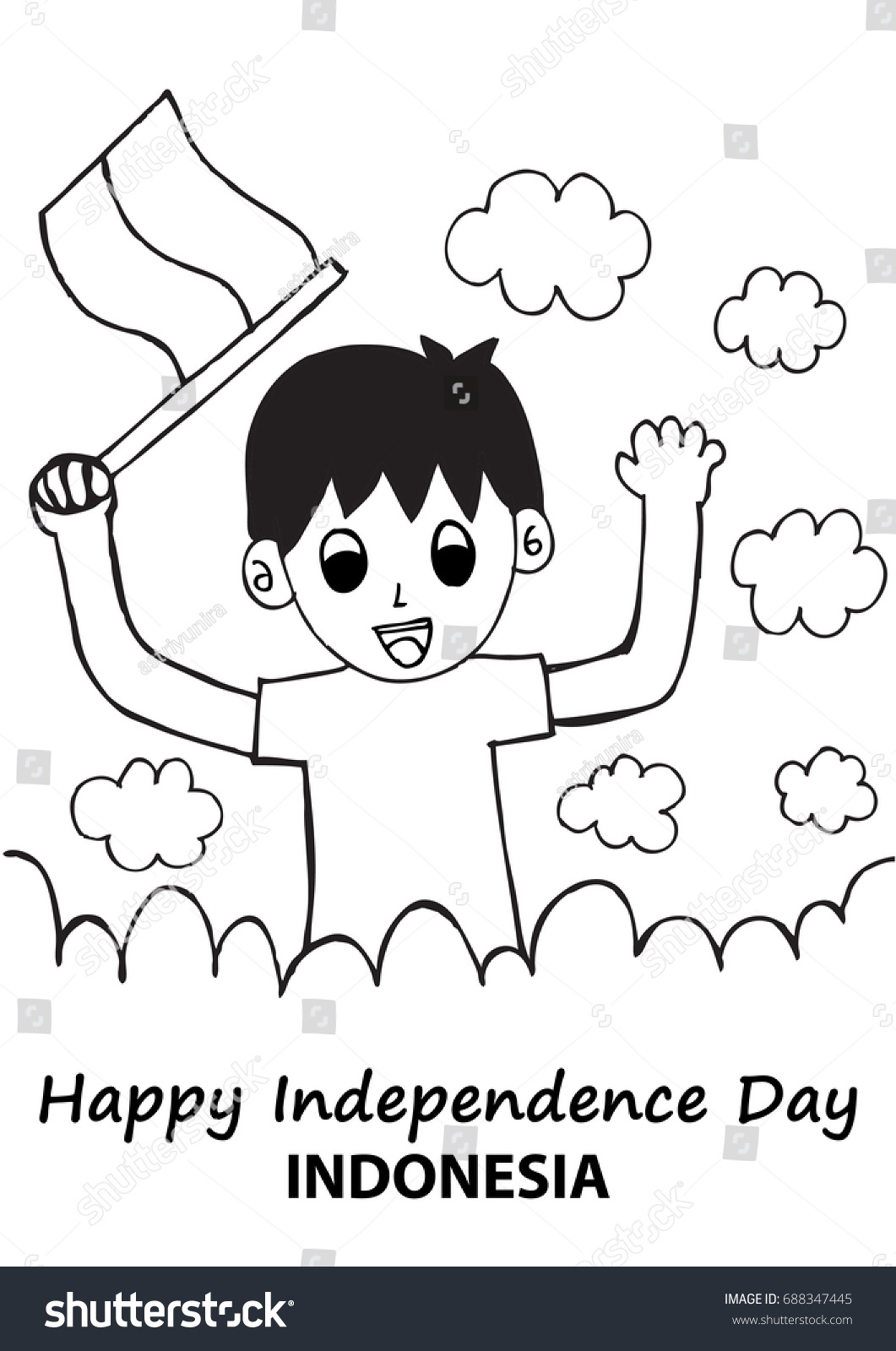 Hand drawing boy holding flag independence stock vector royalty