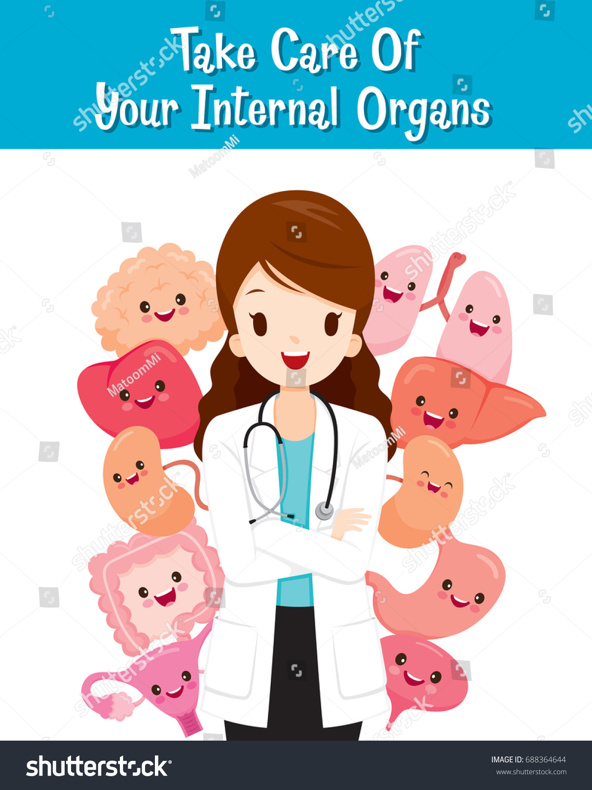 woman doctor human internal organs cartoon stock vector royalty