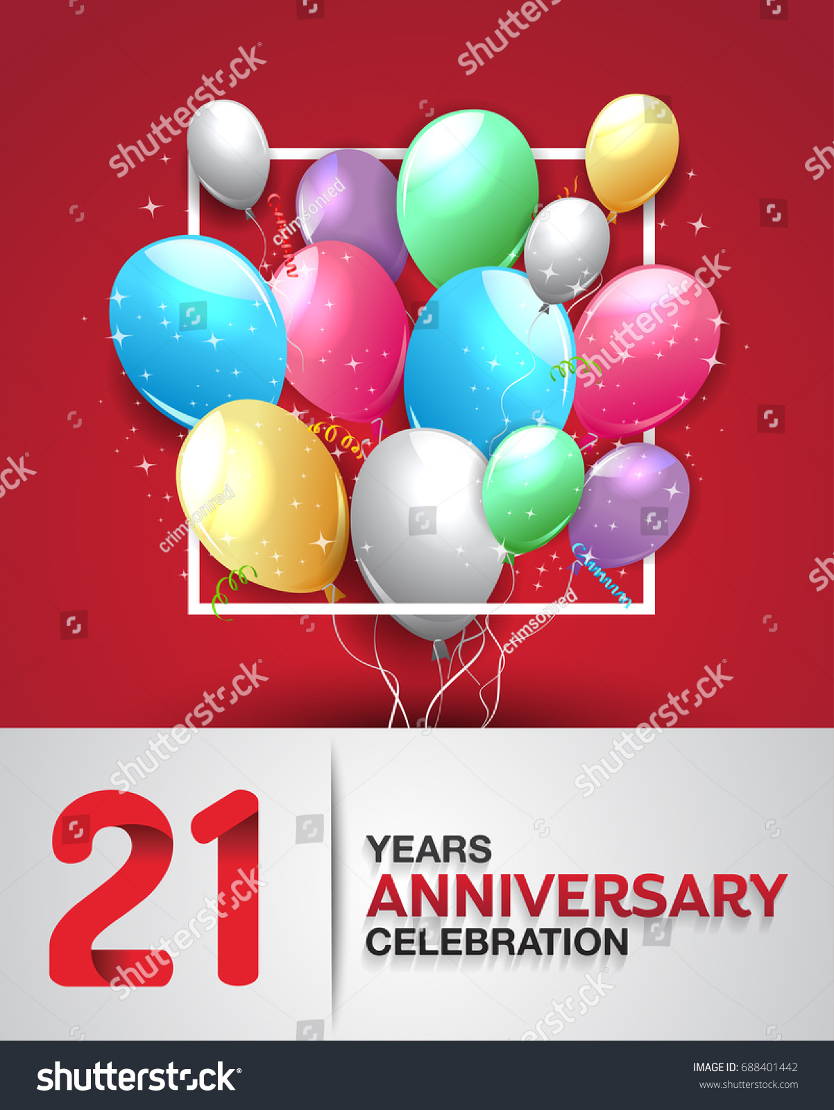 21 Years Anniversary Celebration Greeting Card Stock Vector HD ...