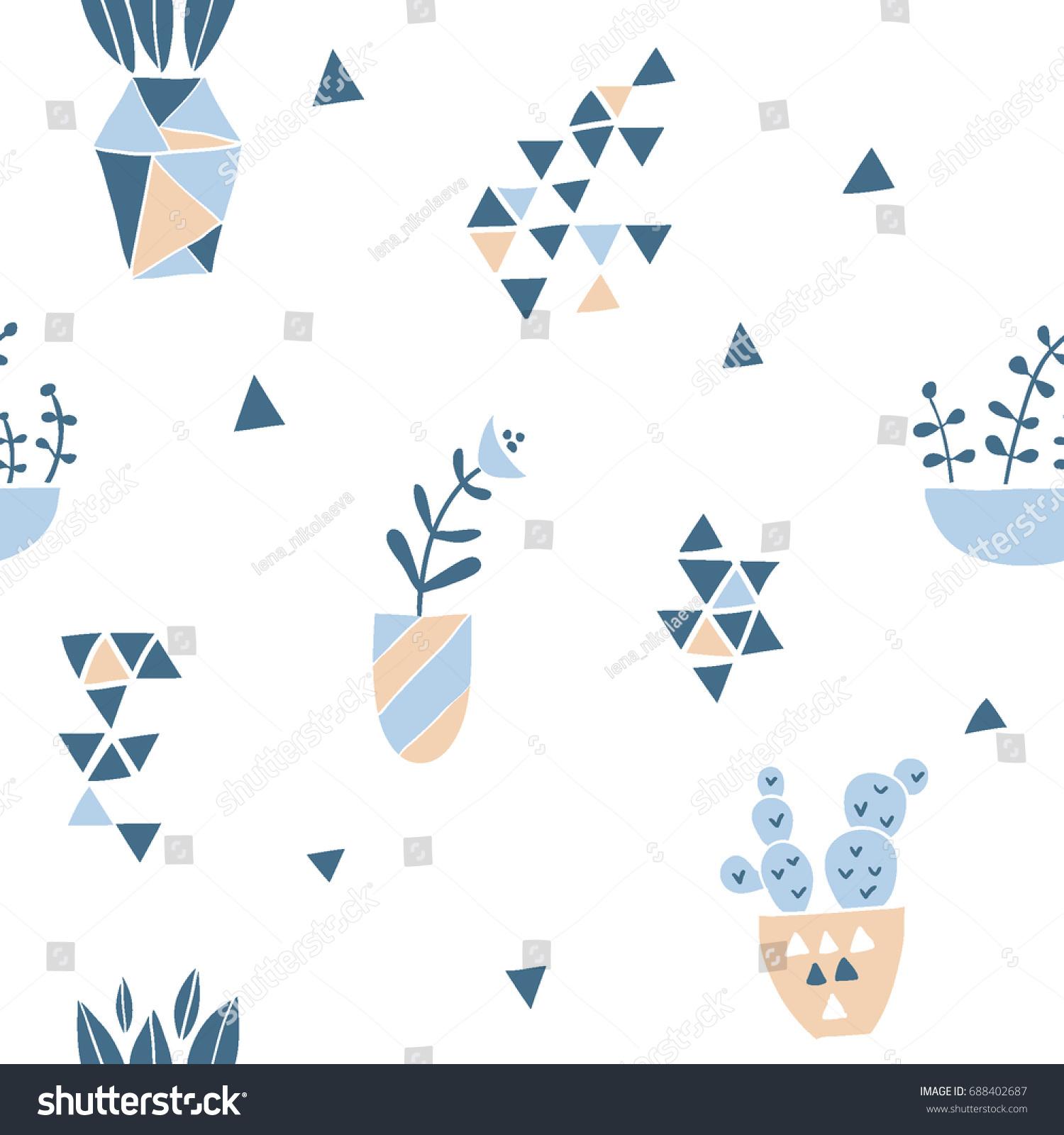 Geometric Seamless Pattern Flowers Minimalistic Background Stock