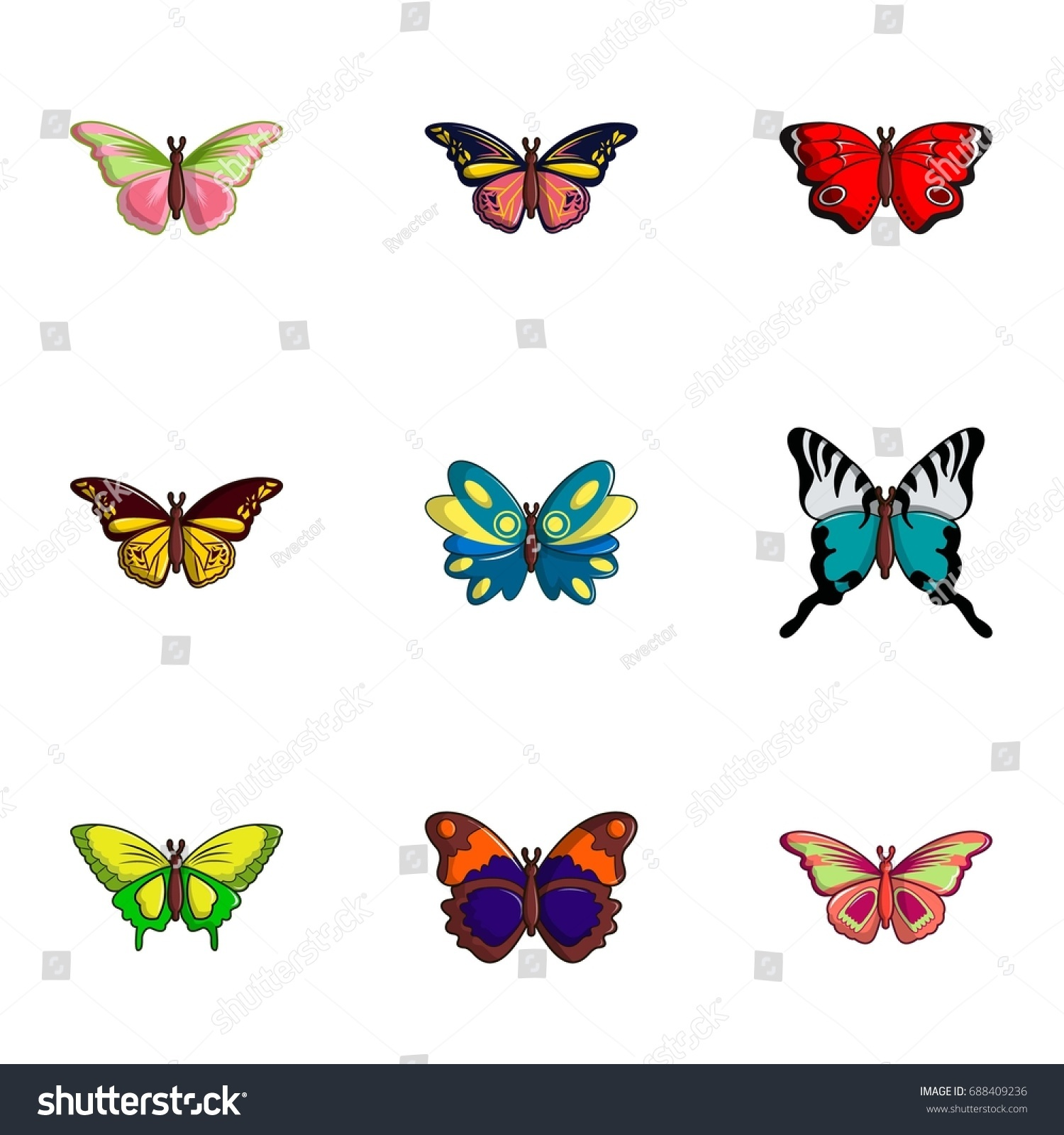 Types Butterfly Icons Set Flat Set Stock Vector Royalty Free 688409236