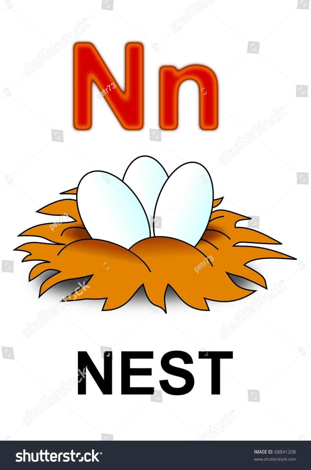 Letter N Nest Stock Illustration 68841208 Shutterstock