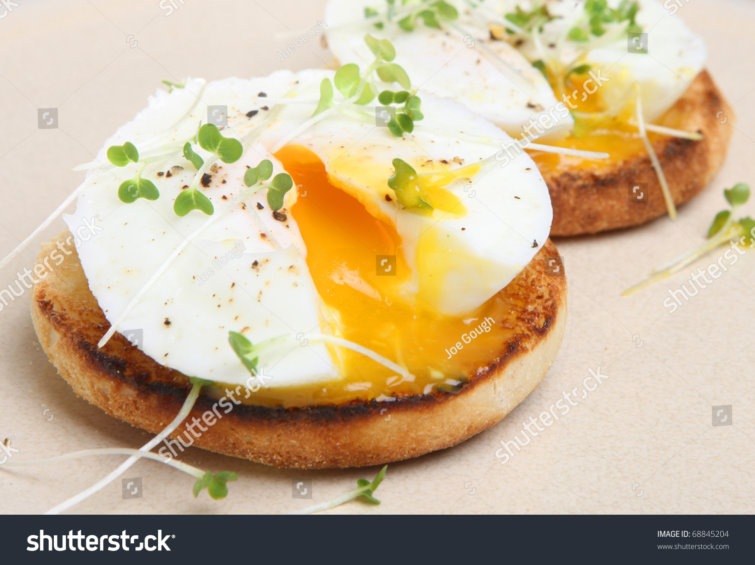 Poached Eggs On Toasted English Muffin. Stock Photo 68845204 ...