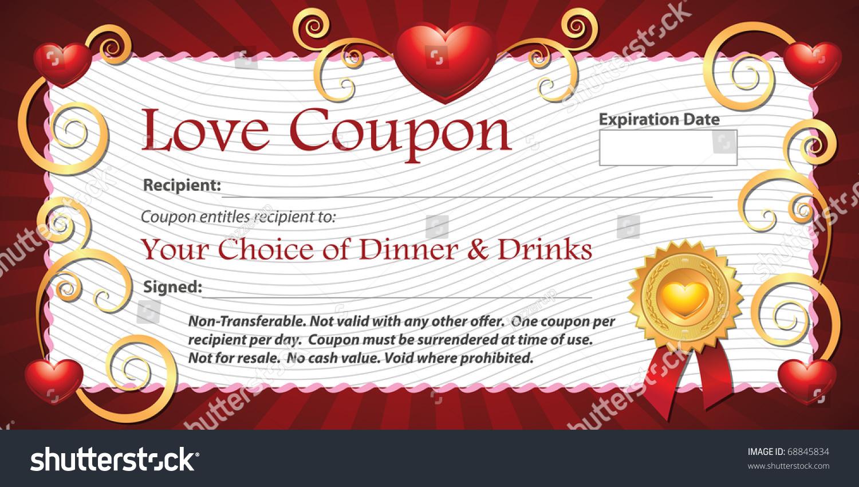 printable love coupon gift dinner choice stock illustration 68845834