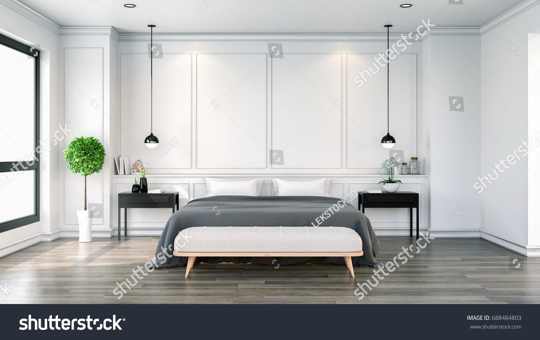 Interior Cozy Bedroom Black White Modern Stockillustration 688484803