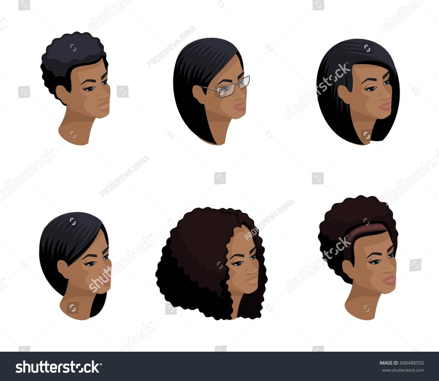 Isometric Icons Head African American Hairstyle 3 D Stock Vector