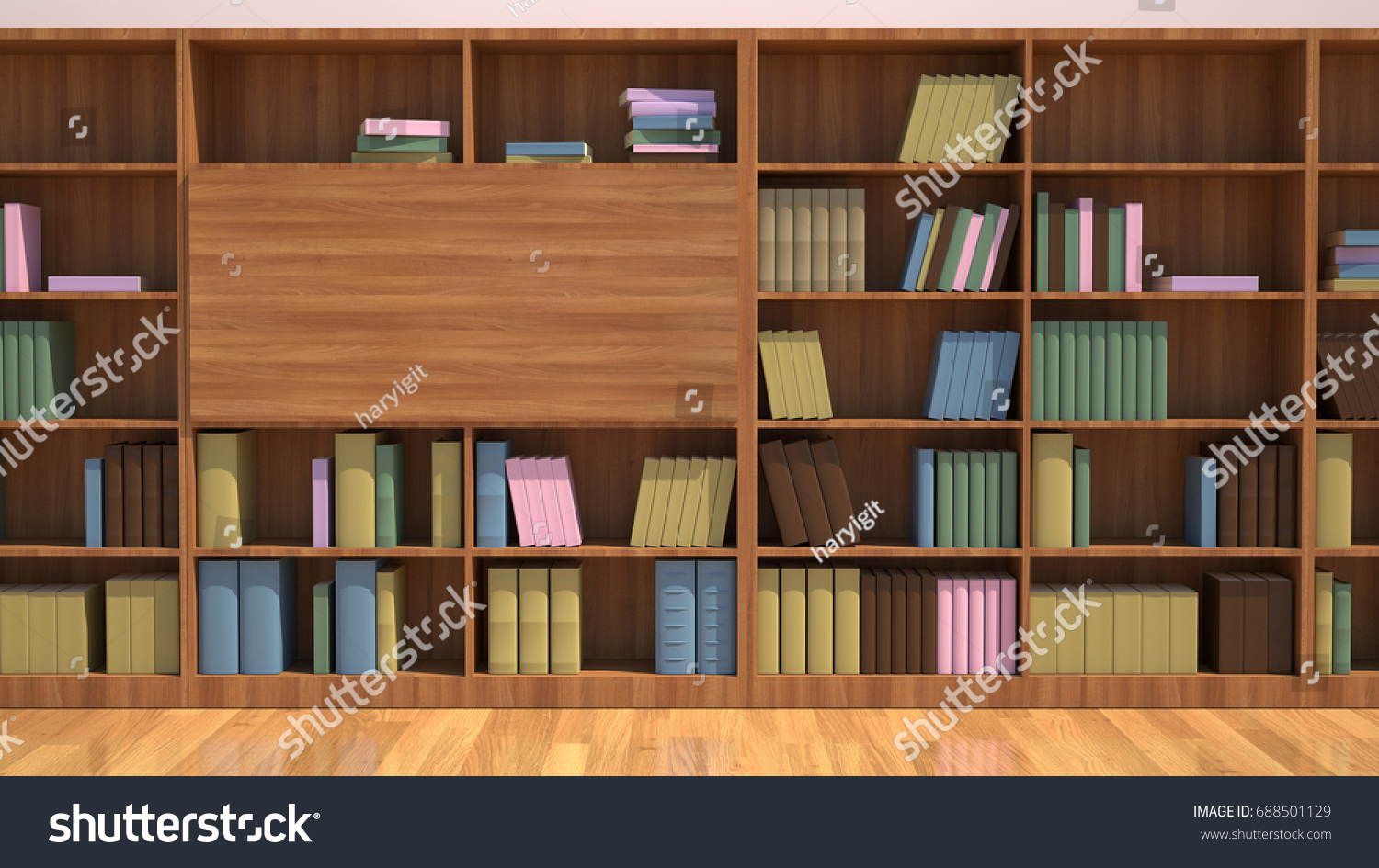 Bookshelf With Books Education Library Book Store Concept 3D Render