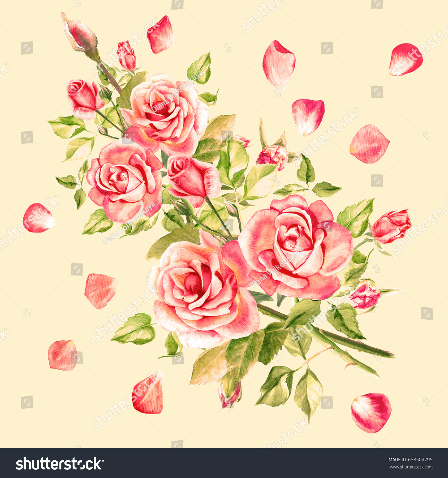 Watercolor Vintage Pink Roses With Rose Petals Bouquet Of Roses