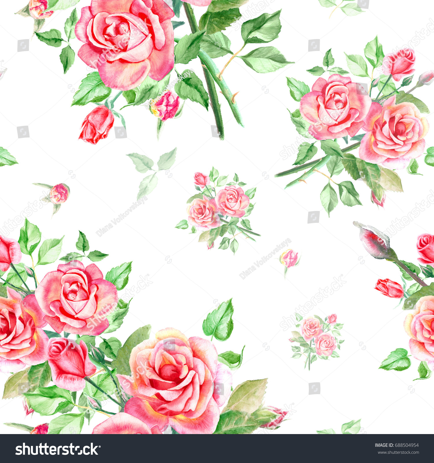 Seamless watercolor pink roses pattern bouquet of roses beautiful id 688504954 izmirmasajfo