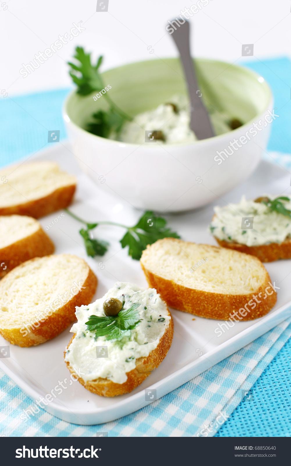 Delicious modern tuna fish spread snack canape stock photo for Canape spread