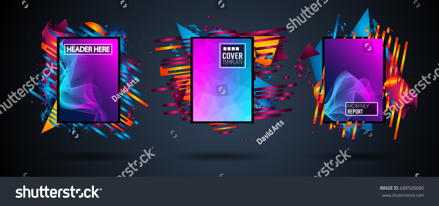 Futuristic Frame Art Design with Abstract shapes and drops of colors behind the space for text. Modern Artistic flyer or party thai background. #688508680