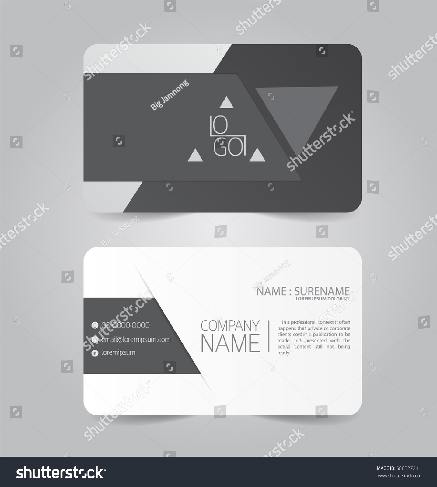 Black Modern Business Name Card Template Stock Vector 688527211 ...