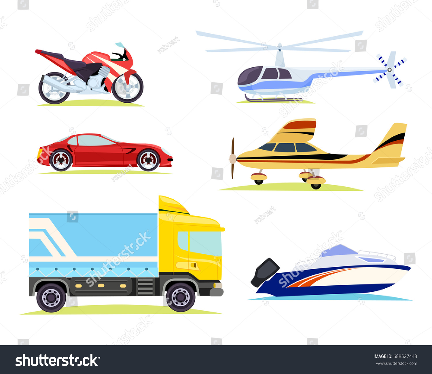 Collection Different Means Transportation Cartoon Style
