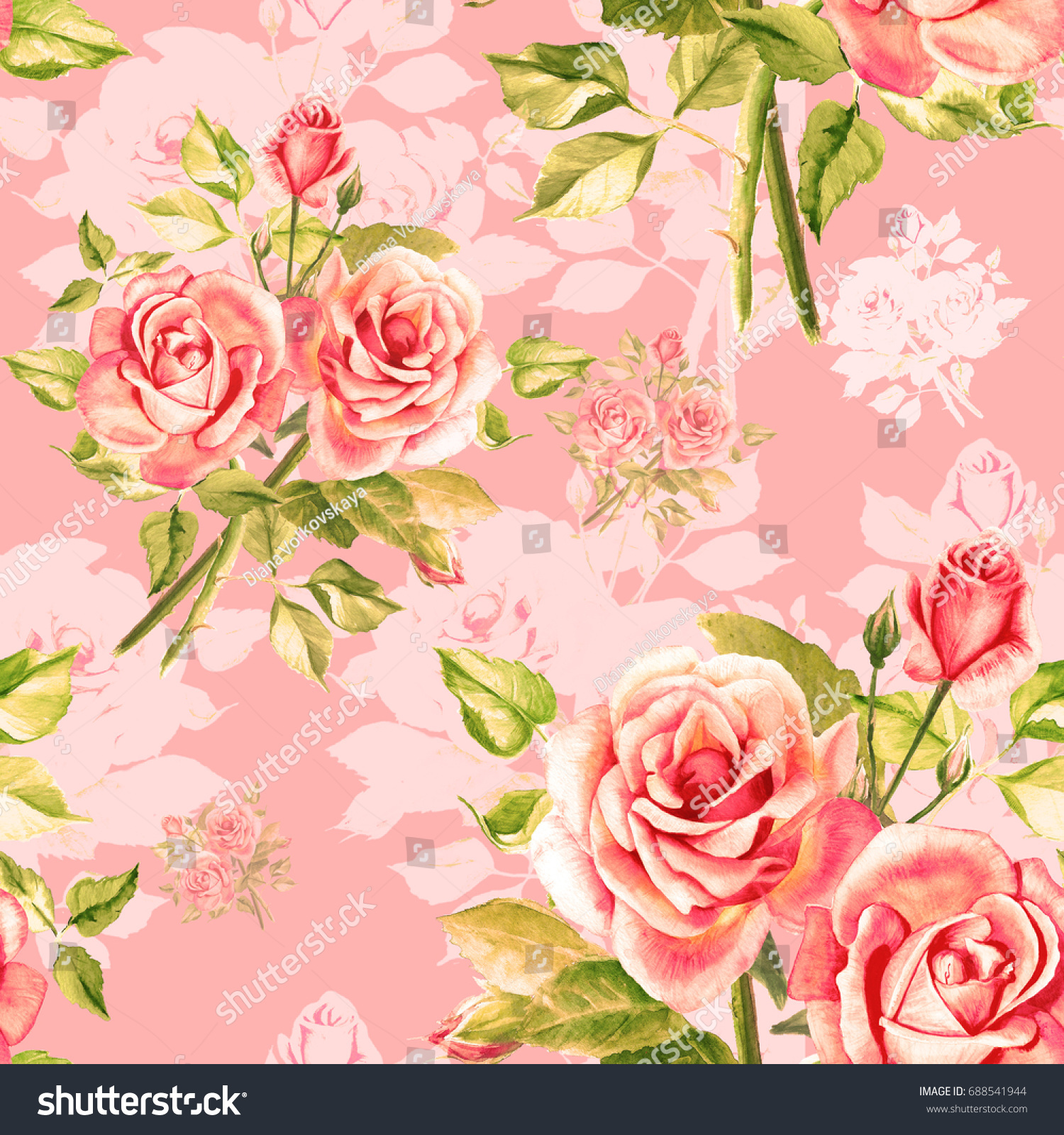 Seamless watercolor pink roses pattern bouquet stock illustration seamless watercolor pink roses pattern bouquet of roses beautiful flowers watercolor painting izmirmasajfo