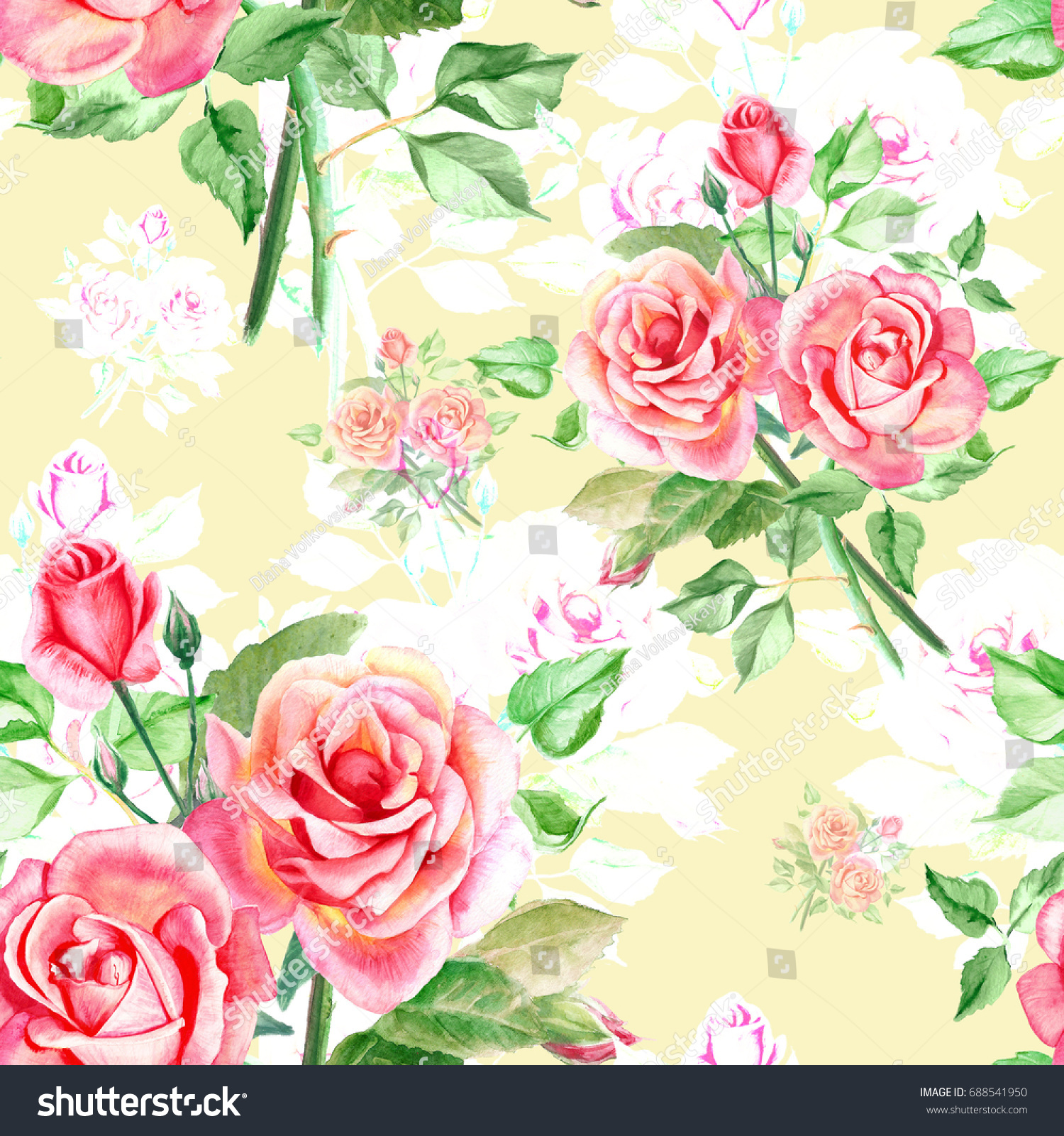 Seamless Watercolor Pink Roses Pattern Bouquet Of Roses Beautiful