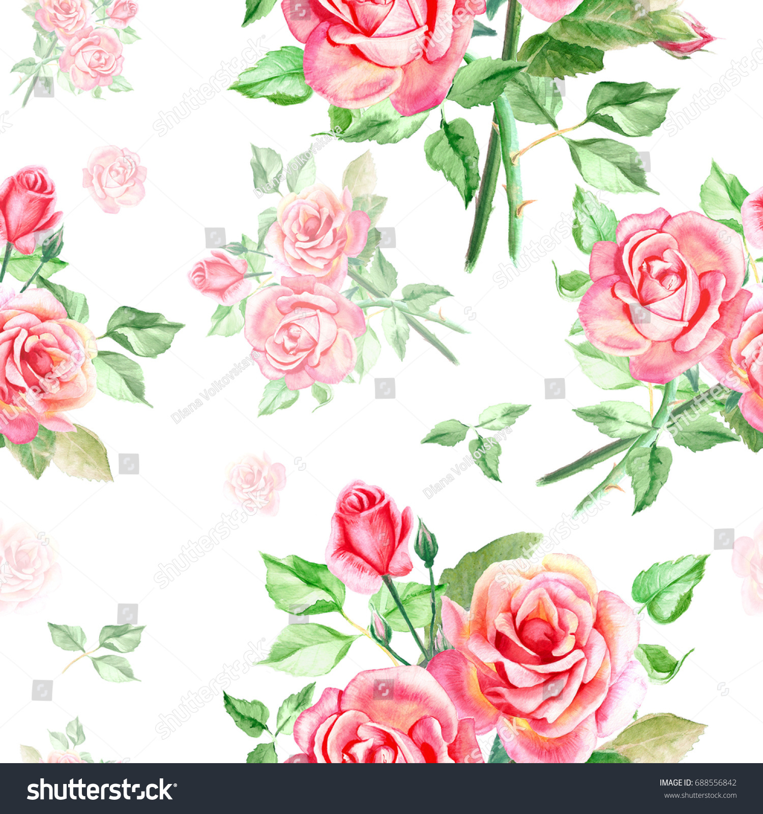 Seamless watercolor pink roses pattern bouquet of roses beautiful id 688556842 izmirmasajfo