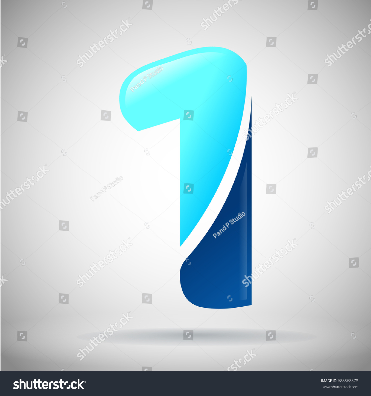 Number One Logo. Blue And Light Blue Glossy Style. Vector Design Template  Elements For