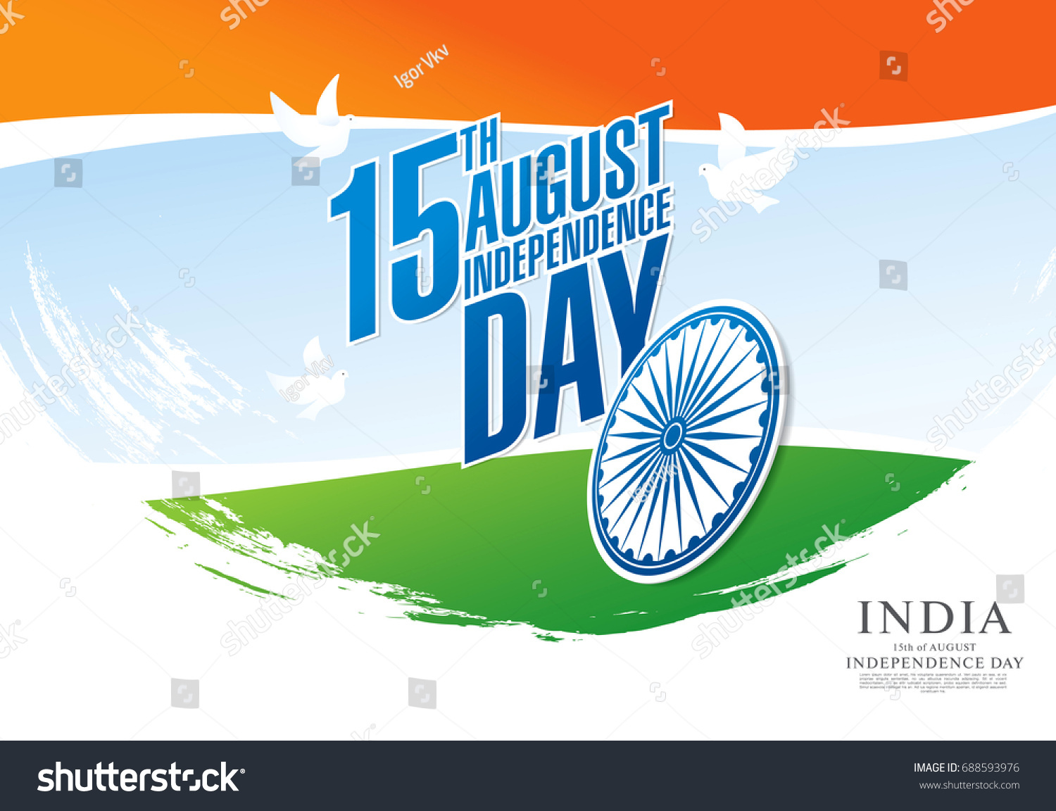 Greeting Card Independence Day India 15 Stock Vector 688593976