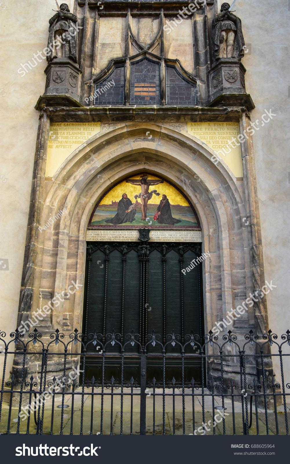 Decorating martin luther church door photos : Famous Door All Saints Church Where Stock Photo 688605964 ...