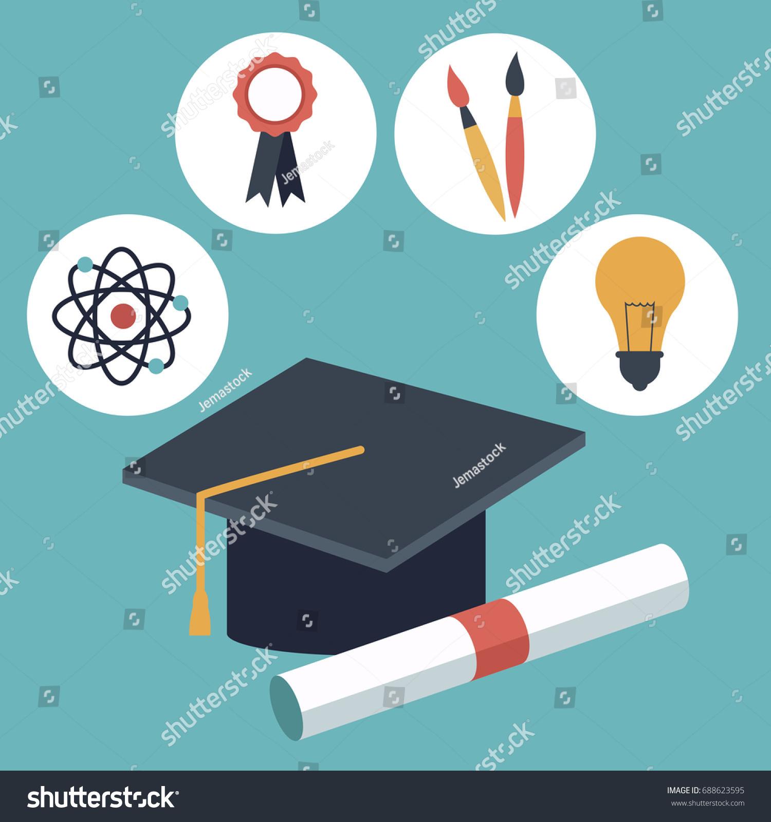 Color Background Closeup Graduation Cap Certificated Stock Vector