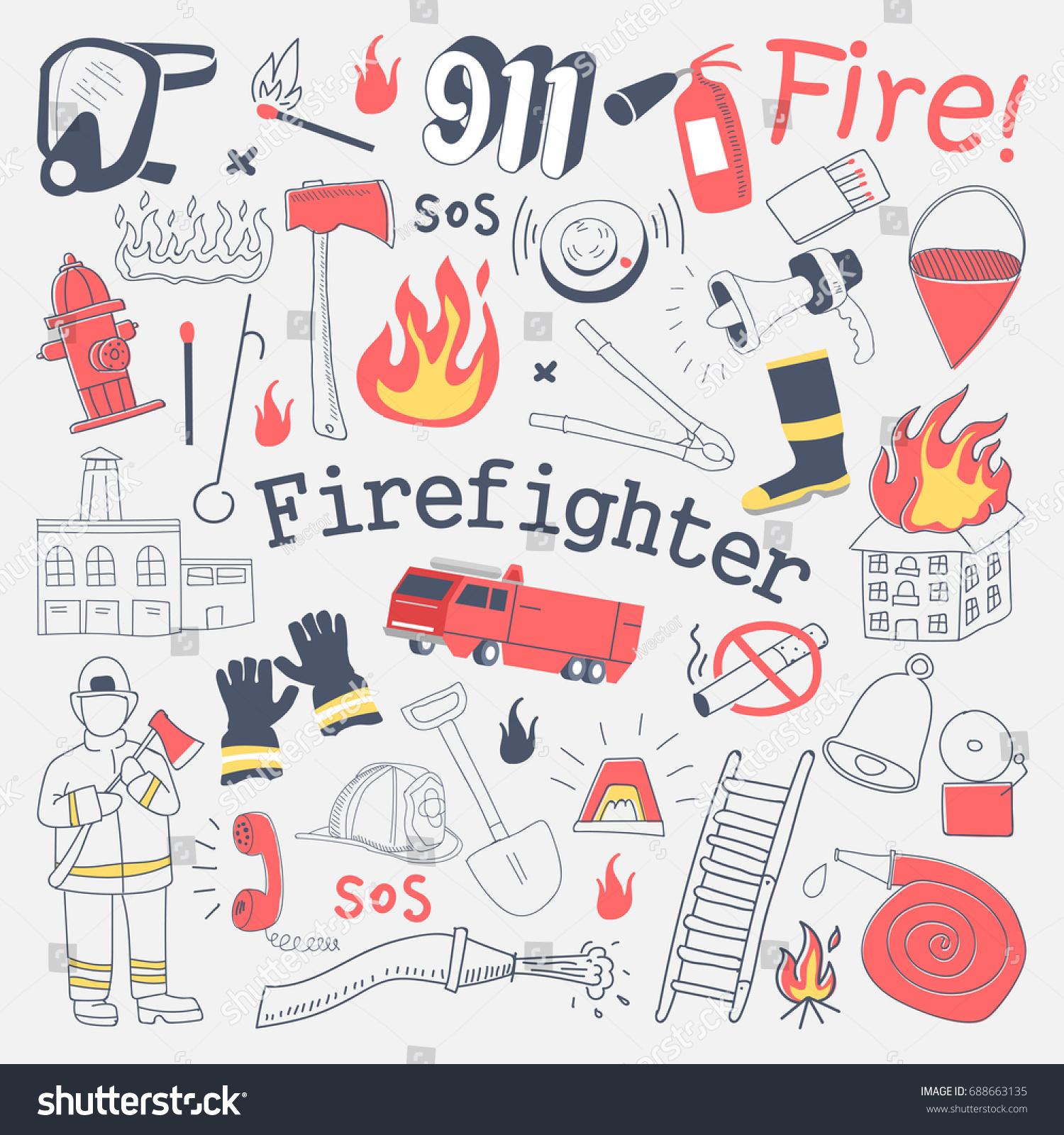 firefighter freehand doodle fireman extinguisher equipment stock