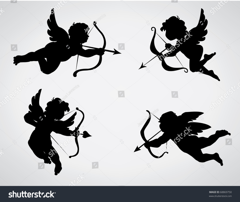 Schön Four Cute Valentineu0027s Angel Silhouette