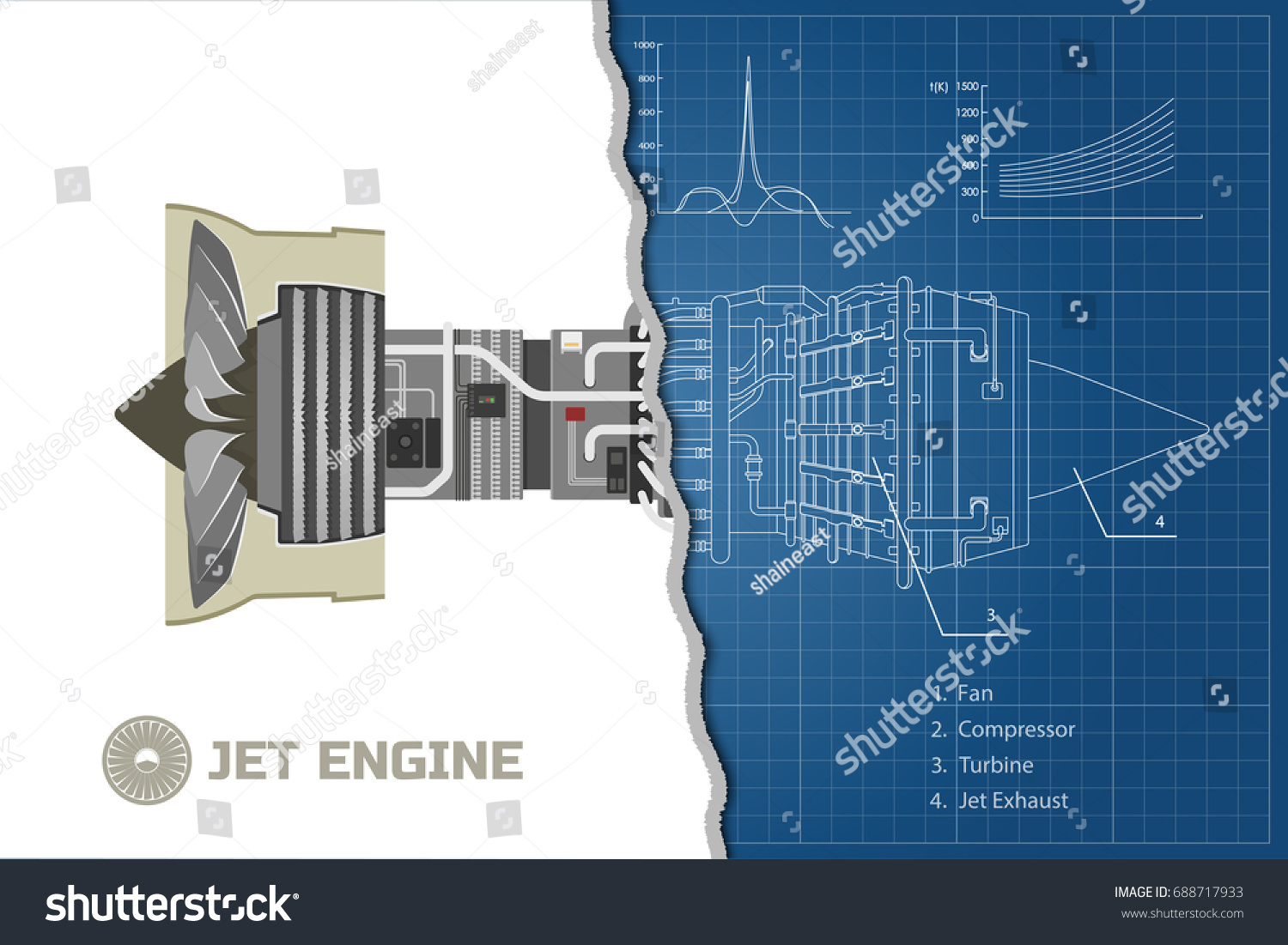 Jet Engine Airplane Outline Style Industrial Stock Vector Royalty Schematic Of Aerospase Blueprint Part The Aircraft