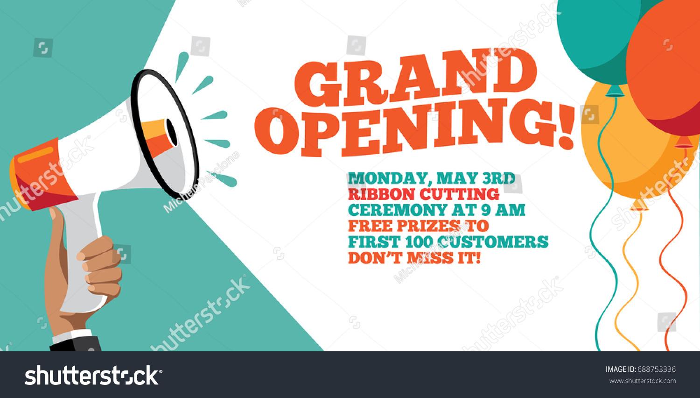 Grand Opening Flyer Marketing Banner Background Stock Illustration