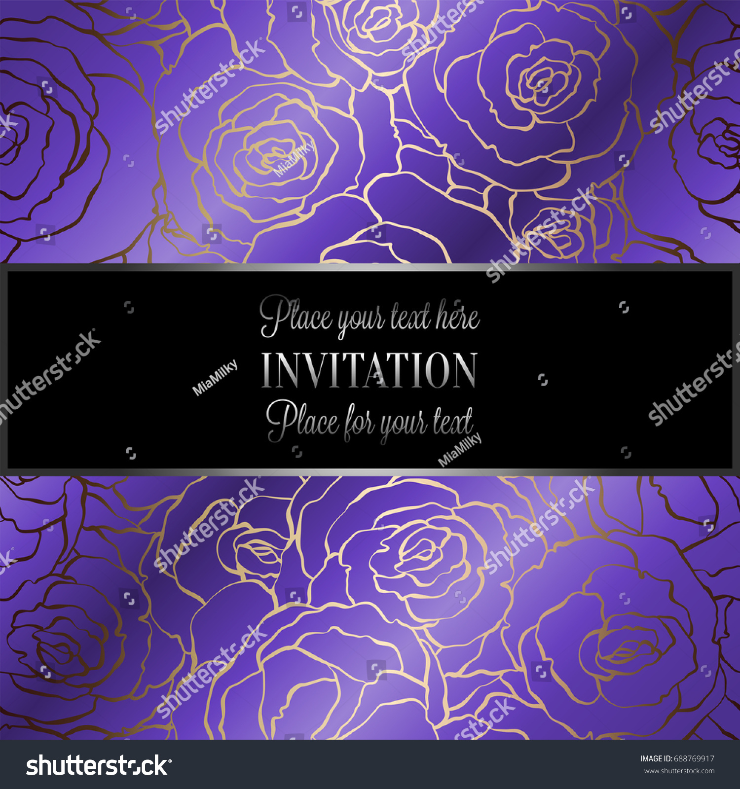 Abstract Background With Roses Luxury Royal Purple Violet And Gold Vintage Frame Victorian Banner Damask Floral Wallpaper Ornaments Invitation Card