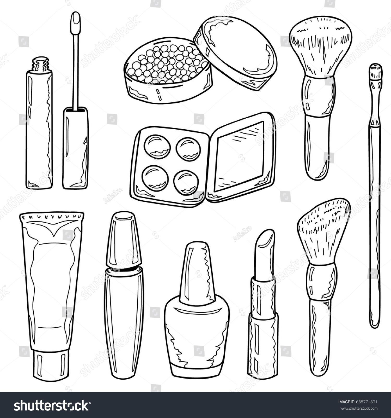 Set Makeup Items Outline Lipstick Mascara Stock Vector