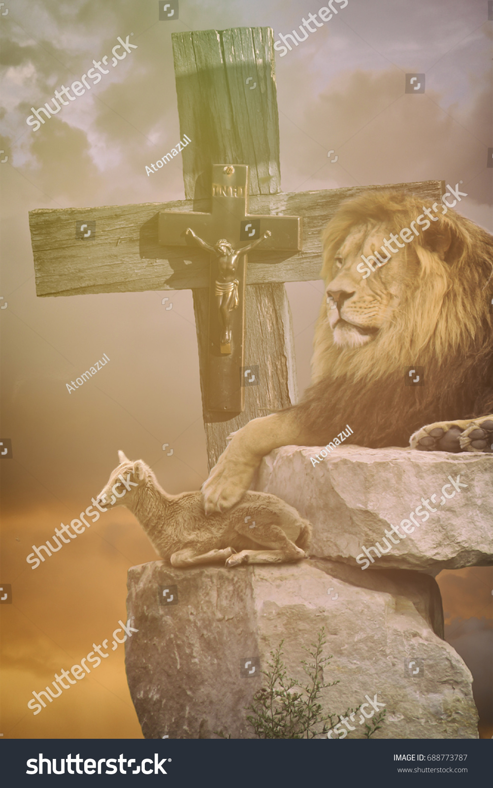 Lamb God Lion Cross Religious Christian Stock Photo Edit Now