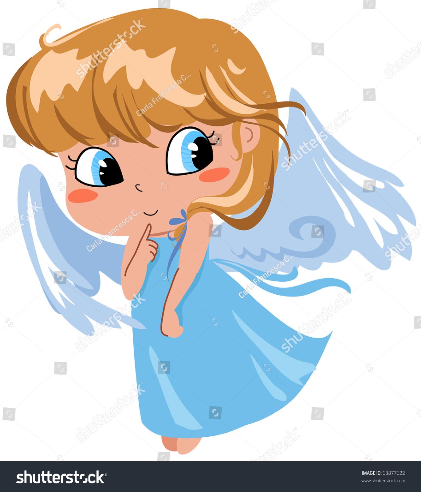 Cute Shy Flying Angel Stock Illustration 68877622 Shutterstock