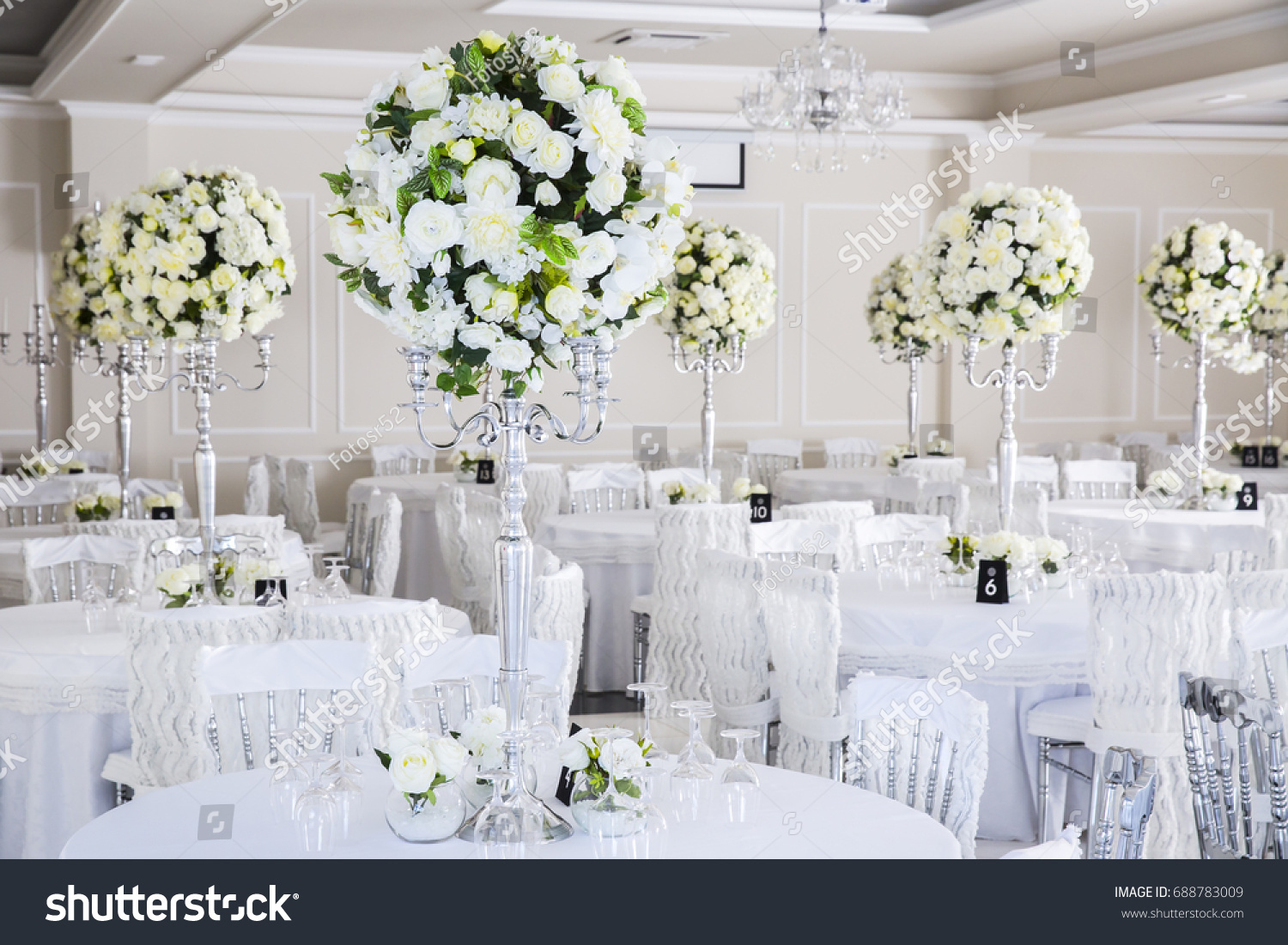 Elegant Wedding Reception Table Arrangement Floral Stock Photo ...
