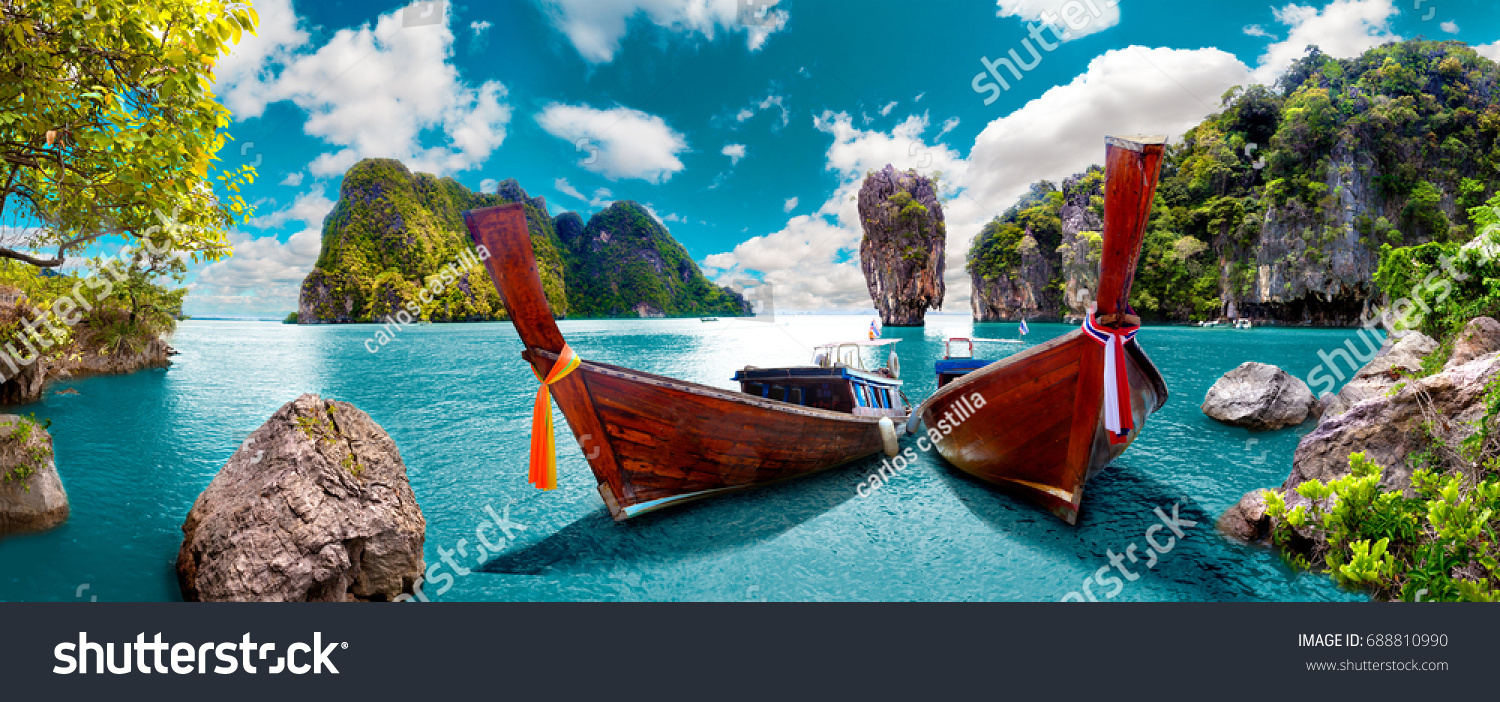 Scenic landscape.Phuket Seascape. Scenery Thailand sea and island. Adventures and travel concept