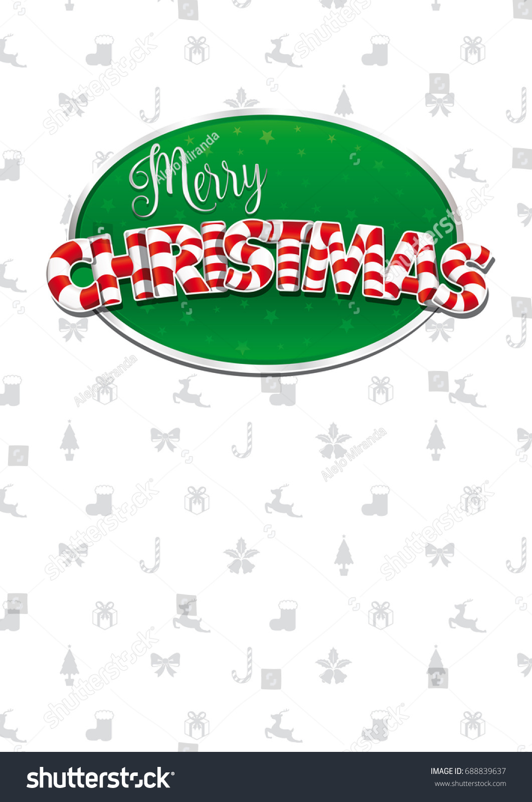 Merry christmas lettering white cover greeting stock vector white cover of greeting card with bows reindeers gifts and kristyandbryce Images
