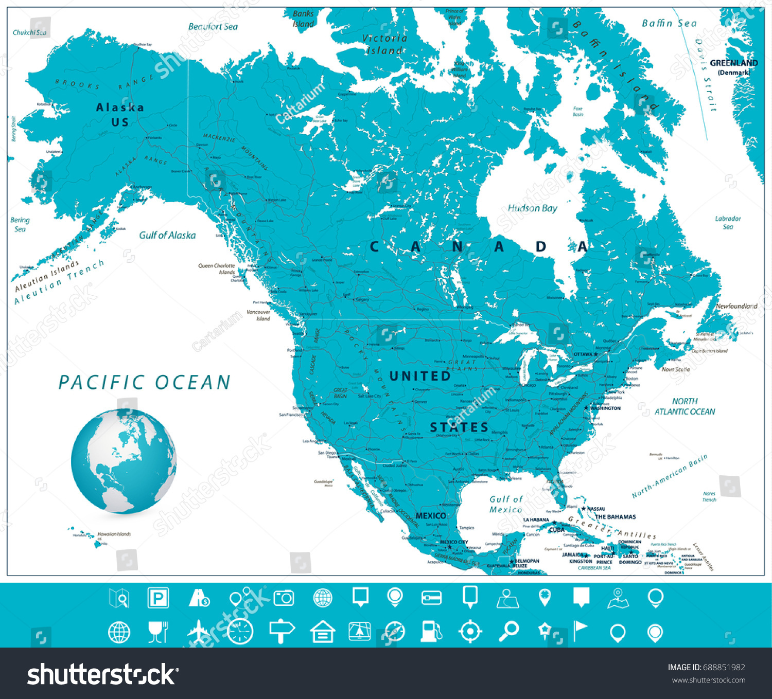 North America Map Navigation Icons Vector Stock Vector 688851982
