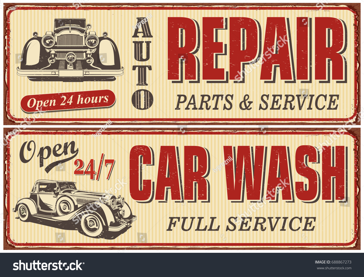 Old Automotive Signs : Vintage car metal sign collectionauto repaircar stock