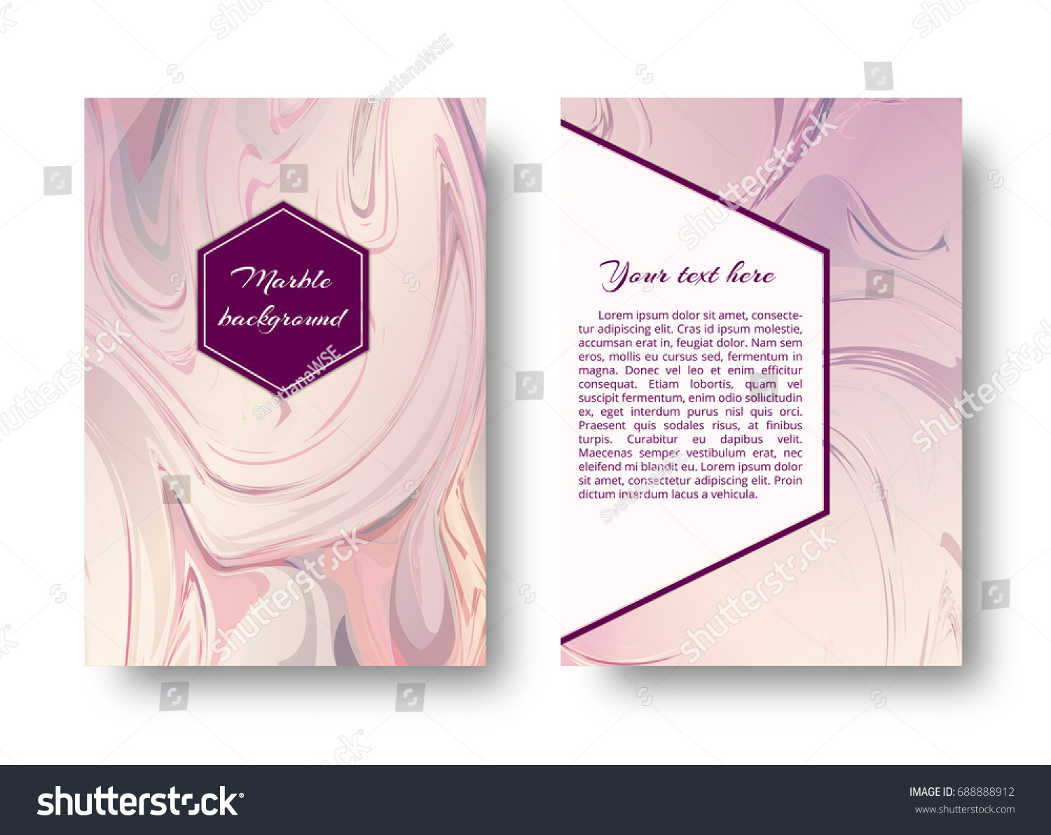 postcard template neutral pink marble texture stock vector royalty
