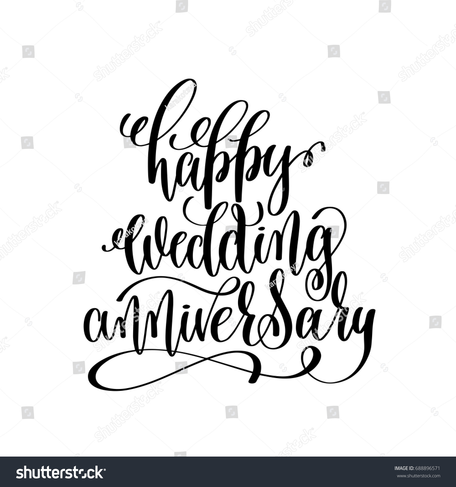 Anniversary lettering design ~ Happy wedding anniversary black white hand stock vector